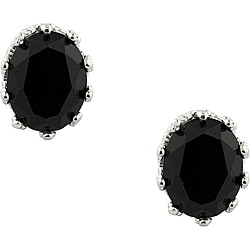 Sterling Silver Black Onyx Crown Earrings