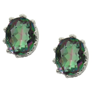 Sterling Silver Mystic Green Crown Earrings