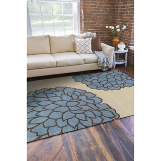 Hand-tufted Contemporary /Beige Carpi New Zealand Wool Abstract Rug ( 9' x 13' )