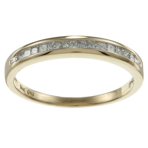 14k Gold 1/4ct TDW Channel-set Princess Diamond Eternity Band (H-I, I1)