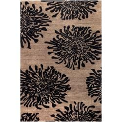 Hand-tufted Contemporary Black/Brown Amiens New Zealand Wool Abstract Rug ( 9' x 13' )