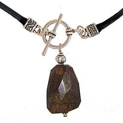 Misha Curtis Silvertone Bronzite Necklace