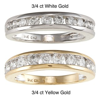 14k White or Yellow Gold 3/4ct or 1ct TDW Channel Diamond Eternity Band
