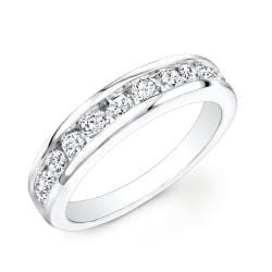 14k White Gold 1ct TDW Channel-set Round Diamond Eternity Band