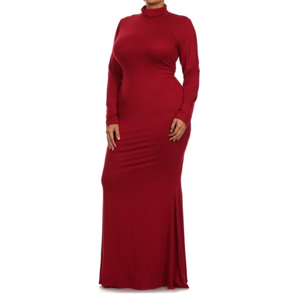 Tabeez Women's Knit Turtleneck Maxi Dress