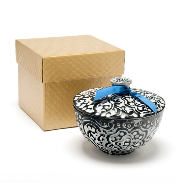 Scented Soy Wax Candle in Reusable White Washed Iron Pot (India)