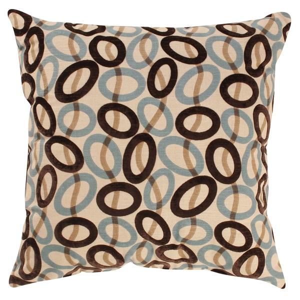 Pillow Perfect Decorative Brown/ Blue Velvet Circles Square Toss Pillow