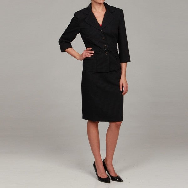 sweet s navy blue belted skirt suit 13964133