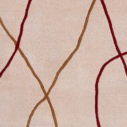 Hand-tufted Beige Contemporary Ozark New Zealand Wool Abstract Rug (8' x 11')