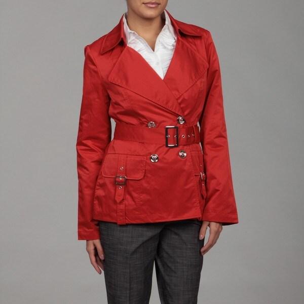 Kasper Women's Poppy Red Belted Taffeta Jacket