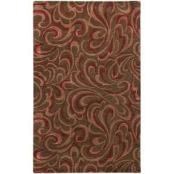 Candice Olson Hand-tufted Contemporary Brown/Red Floral Abstract Sesvenna New Zealand Wool Abstract Rug (3'3 x 5'3)