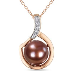 Miadora Pink Silver Freshwater Pearl and Diamond Accent Necklace (G-H, I2-I3)