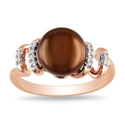 Miadora Pink Silver Freshwater Pearl and Diamond Accent Ring (9-9.5 mm)(G-H, I2-I3)