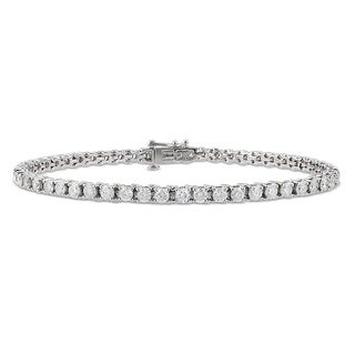 14K White Gold 4 CT TDW Diamond Tennis Bracelet (G-H, I1)