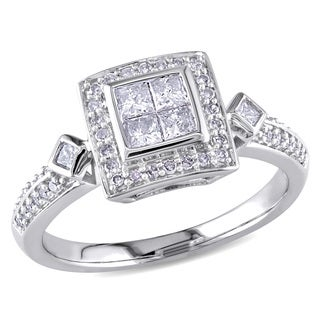 14k White Gold 1/2ct TDW Princess Diamond Ring (G-H, I1-I2)