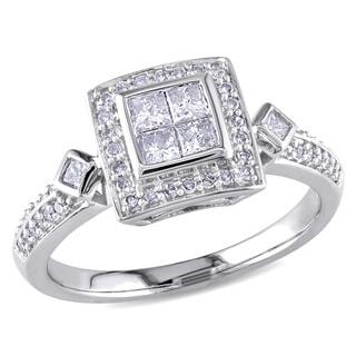 14k White Gold 1/2ct TDW Princess Diamond Ring (G-H, I1-I2)
