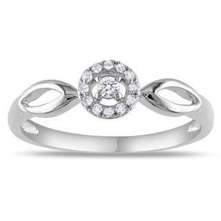 Miadora 10k White Gold 1/10ct TDW Diamond Promise Ring (G-H, I2-I3)