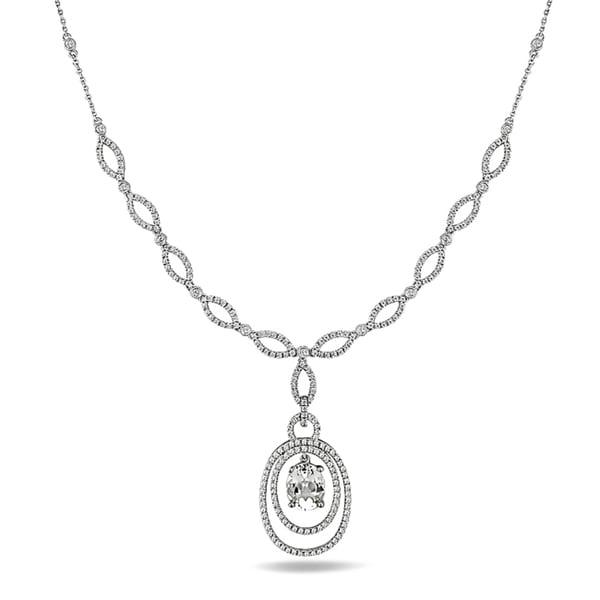 Miadora Signature Collection 14k White Gold 3ct TGW Topaz and 1 5/8ct TDW Diamond Necklace (G-H, SI2)