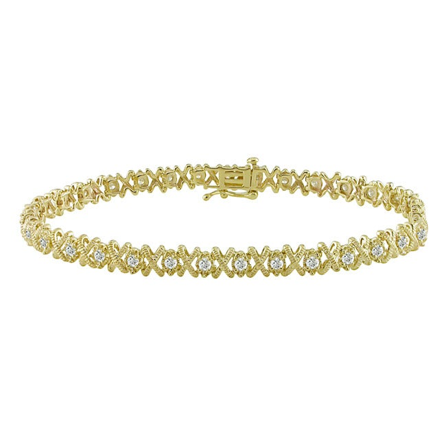 Miadora 10k Yellow Gold 1ct TDW Diamond Tennis Bracelet (G-H, I3)