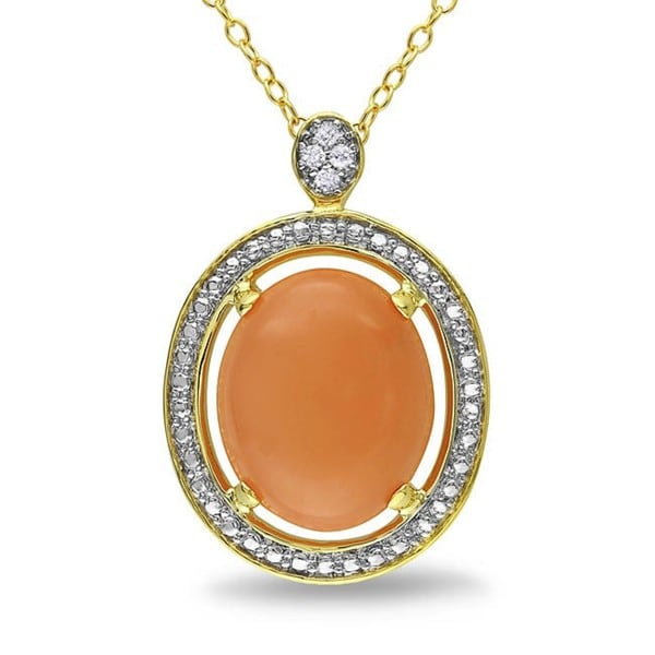 M by Miadora Yellow-plated Silver Moonstone and Diamond Accent Necklace (G-H, I3)