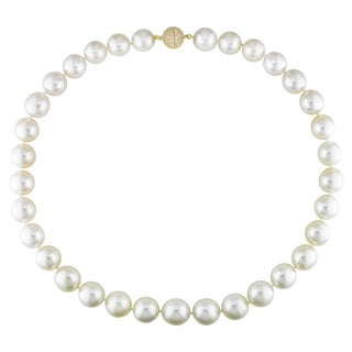 Miadora Signature Collection 14k Yellow Gold Graduated Pearl 1ct TDW Diamond Necklace (12-14 mm)(G-H, I1)