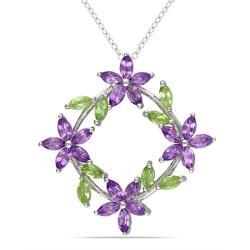 Miadora Sterling Silver Peridot and Amethyst Fashion Necklace