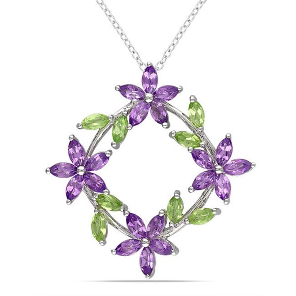 Miadora Sterling Silver Peridot and Amethyst Fashion Necklace