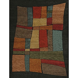 Hand-knotted Khotan Magic Red Geometric Wool Rug (5' x 7')