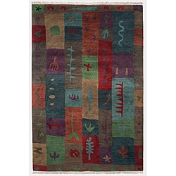 Hand-knotted Block Print Red Geometric Wool Rug (4' x 6')