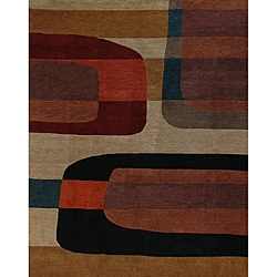 Hand-knotted '3-D' Red Geometric Wool Rug (5' x 7')