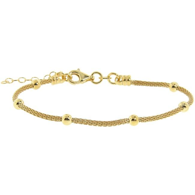Eternally Haute Yellow Gold over Silver Bead Mesh Bracelet