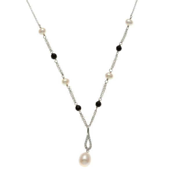 Kabella Sterling Silver Freshwater Pearl, Agate and Cubic Zirconia Necklace