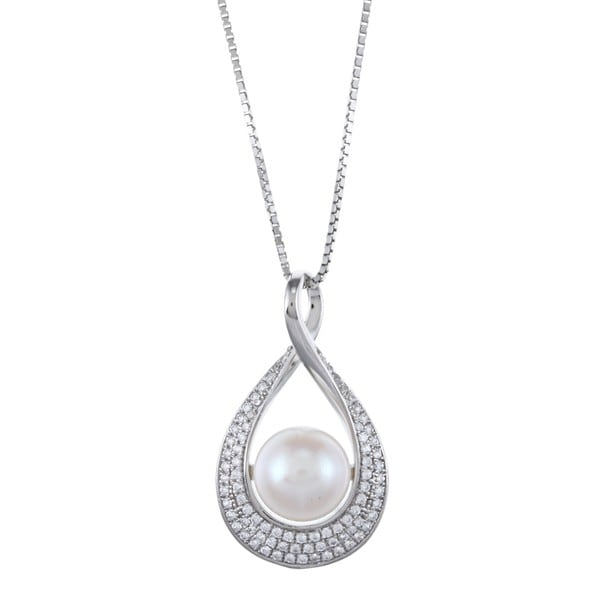 Kabella Sterling Silver Button Freshwater Pearl with Cubic Zirconia Twist Necklace (9-10mm)