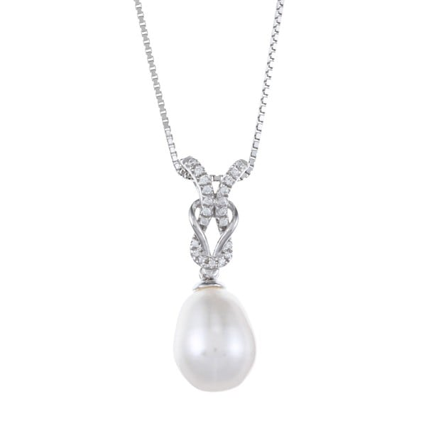 Kabella Sterling Silver Drop Freshwater Pearl and Cubic Zirconia Rope Knot Necklace (9-10mm)