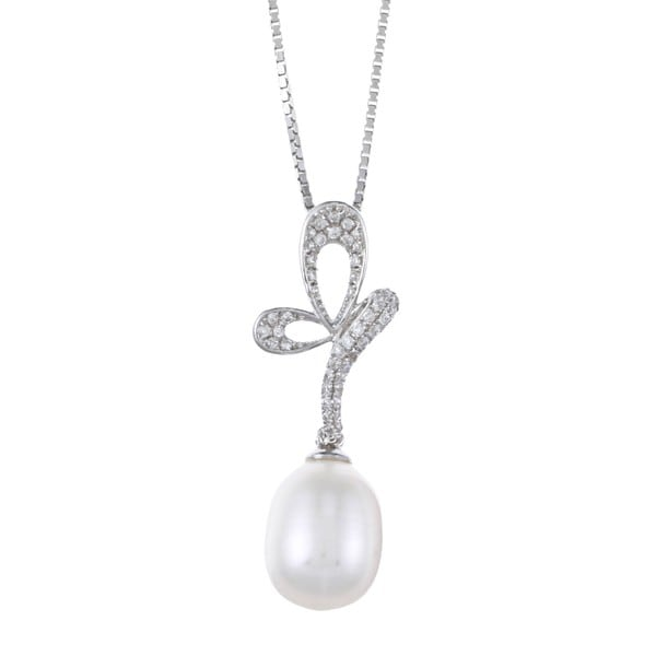 Kabella Sterling Silver Drop Freshwater Pearl with CZ Butterfly on Stem Necklace (9-10mm)
