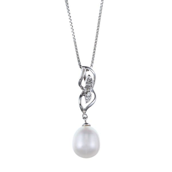 Kabella Sterling Silver Drop Freshwater Pearl with Cubic Zirconia Mirror Leaf Necklace (8-9mm)