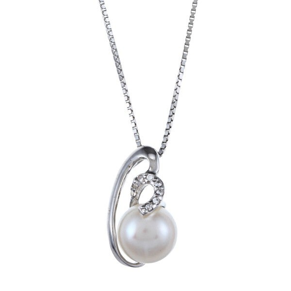 Kabella Sterling Silver Button Freshwater Pearl with Cubic Zirconia Breaking Wave Necklace (8-9mm)