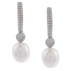 Kabella Sterling Silver Drop Freshwater Pearl and Cubic Zirconia Huggy Earrings (9-10mm)