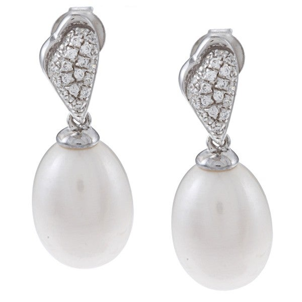 Kabella Sterling Silver Drop-shape Freshwater Pearl CZ Puffy Heart-shape Earrings (9-10mm)