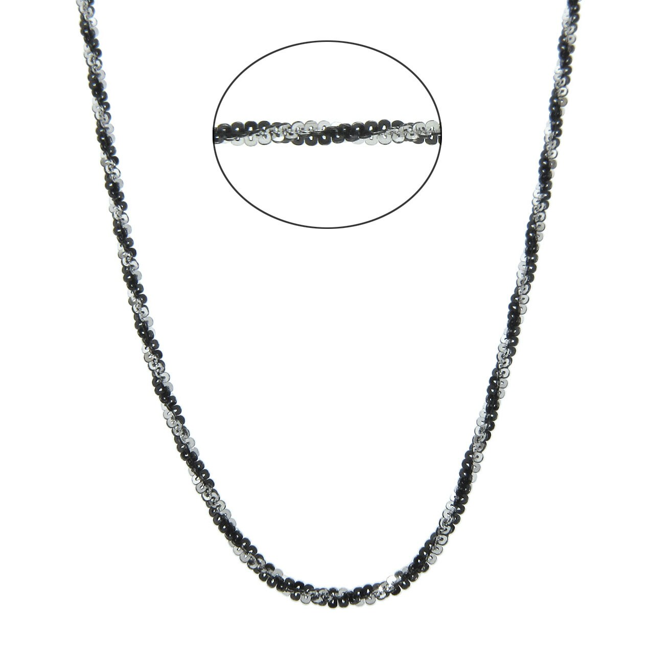 Eternally Haute Italian Black Rhodium-over-Silver Diamond-Cut Roc Chain with Lobster Claw Clasp