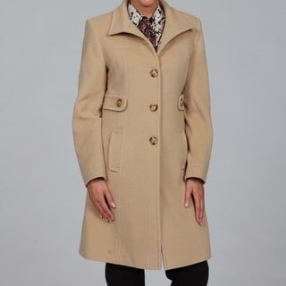 Larry Levine Women's Camel Hair Funnel Neck Coat