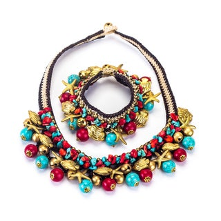 Turquoise and Red Coral Necklace and Bracelet Set (Thailand)