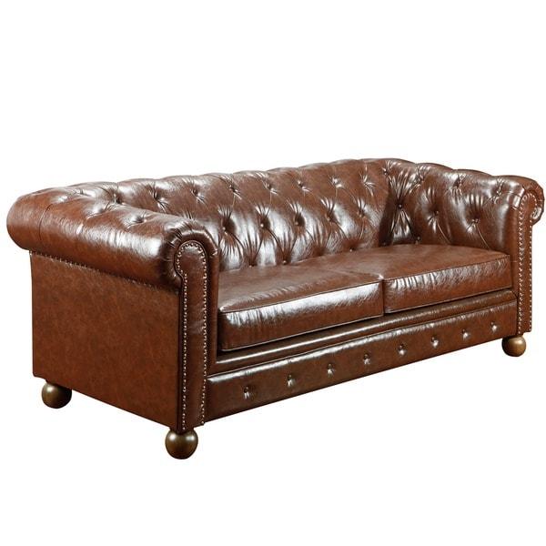 Mocha Tufted Nailhead Sofa
