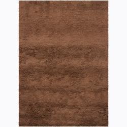 "Handwoven Mandara Brown Wool Shag Area Rug (5'3"" x 7'7"")"