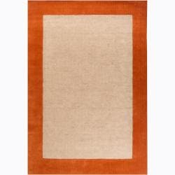 Hand-woven Mandara Orange Border Rug (7'9 x 10'6)