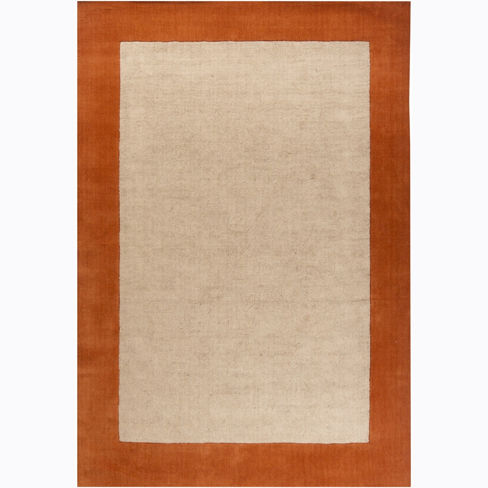 Hand-woven Mandara Orange Border Rug (5' x 7'6)