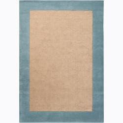 Hand-woven Mandara Blue Border Rug (7'9 x 10'6)