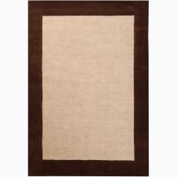 "Handwoven Mandara Casual Brown Border Rug (5' x 7'6"")"