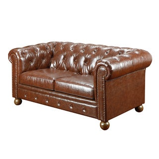Mocha Tufted Leather Loveseat with Nailheads