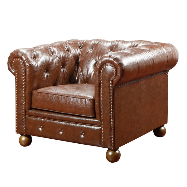 Mocha Tufted Leather Chair With Nailheads 13966414